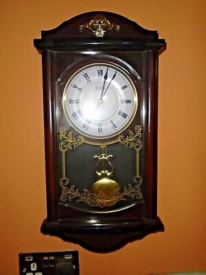 Vintage Acctim  Wood Effect Wall Clock, With Pendulum & Chimes