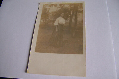 Rare Vintage RPPC Real Photo Postcard B1 Woman In Dress South Bend Indiana Mark