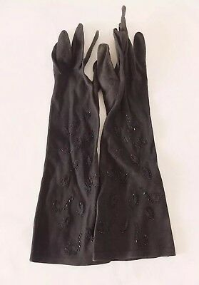 Denise Francelle Black Embroidered Gloves Size 7