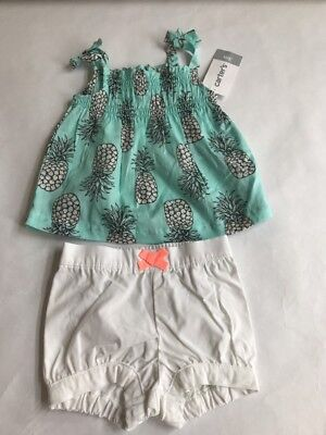 Carters Girls Size 3 Months Pineapple Shorts Set Outfit NEW NWT