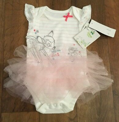 Disney Bambi Baby Girls Bodysuit With Tutu Newborn / First Size Bnwt