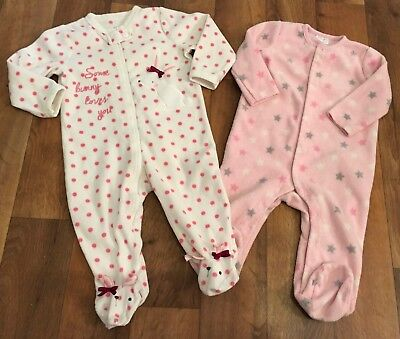 F & F & Primark Baby Girls Fleece Sleepsuits 6-9 Months