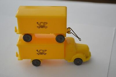 Vintage 1950's Wiking solid windows Postal Truck with matching trailer-Mercedes