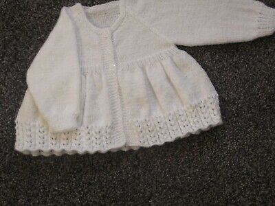 Hand Knitted Matinee  Coat/cardigan  0-3 Months Made In 3 Ply