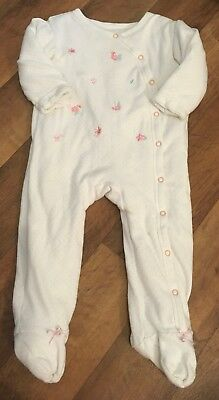 Nutmeg Baby Girls Flower Embroidered Wadded Sleepsuit 9-12 Months