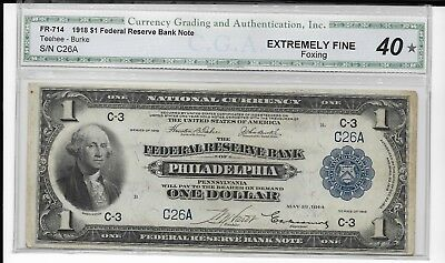 FR 714 1018 $1 National Currency Federal Reserve Bank Note CGAEF40 foxing