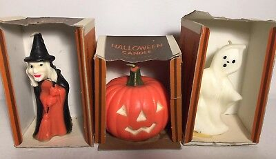 Lot of 3 Vintage Gurley Halloween Candles Original Boxes Ghost Witch Pumpkin JOL