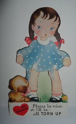 VTG 1940s Valentine Card Girl with Puppy Dog Tearing Her Dress--A-Meri-Card