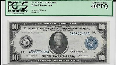 FR 907a 1914 $10 Boston Federal Reserve Note  PCGS  EF40PPQ
