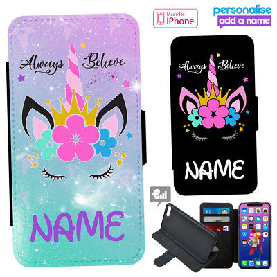 100% authentic e8ca9 d82db UNICORN IPHONE CASE PERSONALISED Leather Flip Phone Cover Girly Cute Gift  Pink