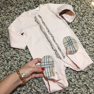 009b37bac27e 6 Mnths (fits NB-3m+) Authentic Burberry Baby Girl Cowerall Jumpsuit Body  Romper