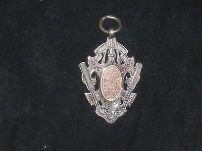 antique solid silver and gold fob medal birmingham silver