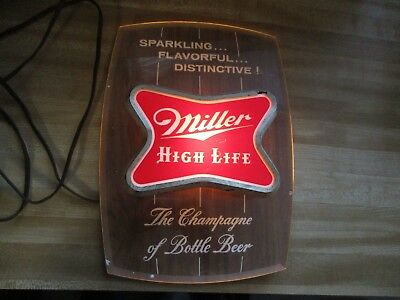 Vintage Lighted Miller High Life Sparkling Flavorful Distinctive Sign