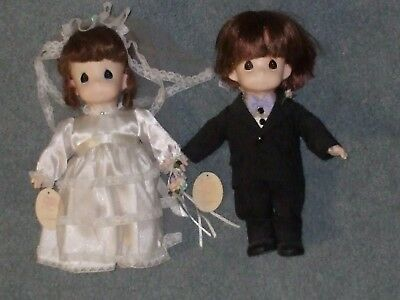 """Precious Moments Bride & Groom dolls 12"""" tall, with stands"""