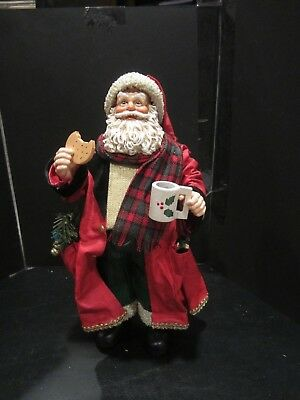 """Midwest Importers of Canon Falls Fabric Mache Santa 10"""" Cookie and Mug"""