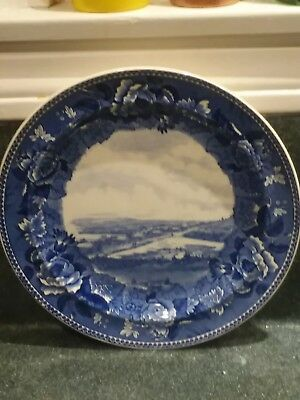 Wedgwood Blue and White Historical Plate, The Harbour Plymouth 1622