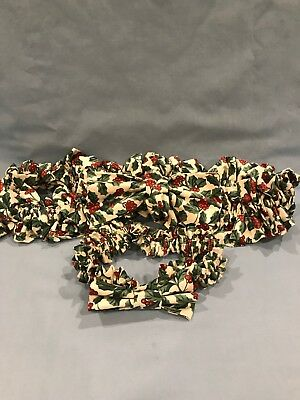 Two Longaberger Christmas Holly Garter With Bow - Small And Xl