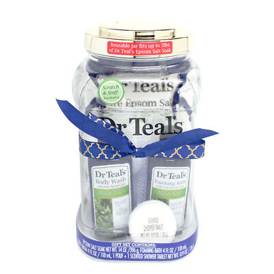 Dr Teals Relax & Relief Eucalyptus 4Pc Gift Set Body Wash Epsom Salt Shower Bath