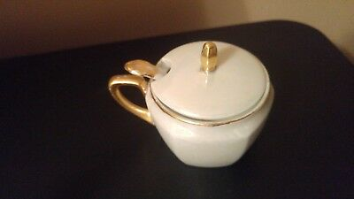 Antique RS Germany Porcelain Lidded Jam/Mustard Jar with a spoon Gold rim