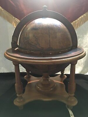 """Vintage wooden Zodiac Globe 16"""" with wood stand."""