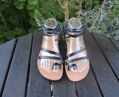 Hand Made Greek Leather Sandals (Tan, Black Color)