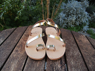 Hand Made Greek Leather Sandals (Gold , Bronze, Natural, Black Color)