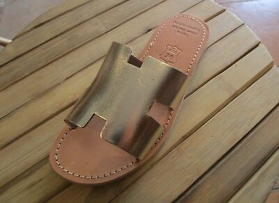 Hand Made Greek Leather Sandals (Gold, Black Color)