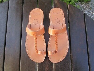 Hand Made Greek Leather Sandal (Natural, Black Color)