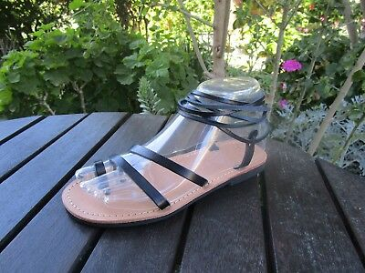 Hand Made Greek Leather Sandal (Black, Tan Color)