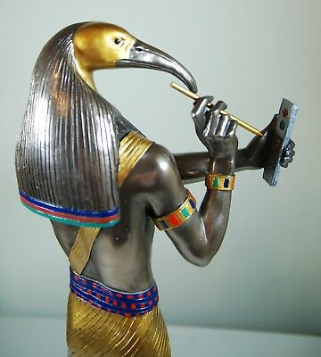 "Large Egyptian God Thoth Cold Cast Bronze Statue 16"" H"