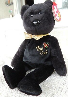 1999 Ty Original Beanie Babies THE END Black Bear w/Tags  (9 inch)