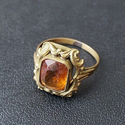 Antique Art Deco Ring Size 8 Brass Floral Leaf Citrine Glass Rhinestone J43