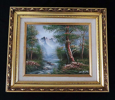 "M.Scott 3D Oil Painting on Canvas Forest-Mountain Landscape Sgnd-Frmd 14"" x 12"""