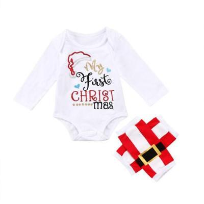 2PCS Set My First Christmas Long Sleeve Cotton Romper Tops+Long Pant