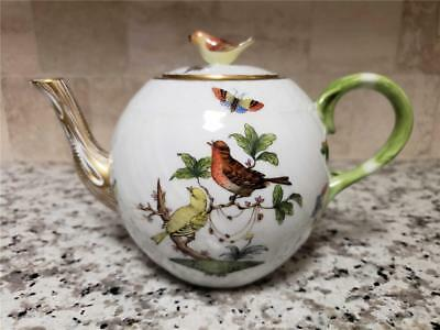 HEREND Hungary Rothschild Porcelain Teapot with Bird Finial Birds Bugs Butterfly