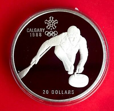 1988 $20 Calgary Olympic Sterling Silver Coin ( 1oz ASW) - Curling