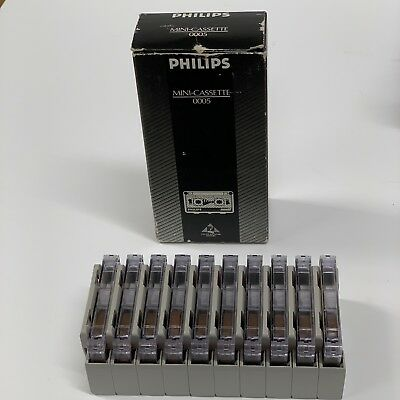 Philips Mini-Cassette Audio Record Tapes 30 Minute Pack Of 10 W/Clips #0005 NEW
