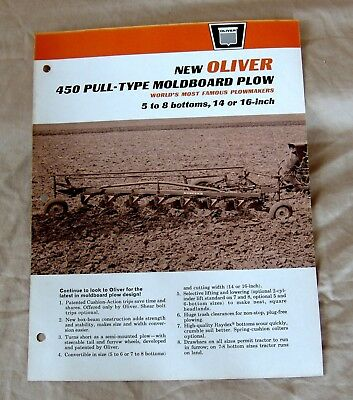 Vintage Oliver Corporation No. 450 Pull-Type Plow Advertising Brochure-Ca 1964!