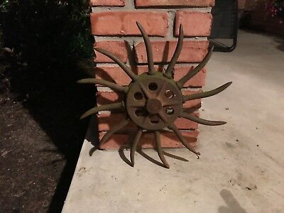 Vintage Industrial Iron Rotary Hoe Cultivator Wheel Garden Farm Yard Art old