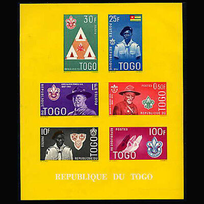 Togo, Sc #406a, Yellow, Imperf, MNH, 1961, S/S, Boy Scouts, Lord Powell, 1118