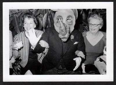RIDICULOUS RHINOCEROUS MASK HALLOWEEN COSTUME OLD WOMEN! 1950s VINTAGE PHOTO