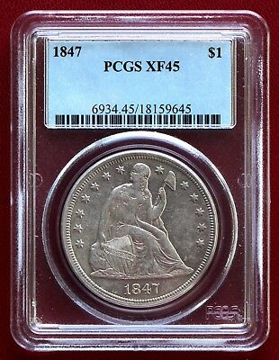 1847 Seated Liberty Silver Dollar Pcgs Xf45 (No Motto Variety)