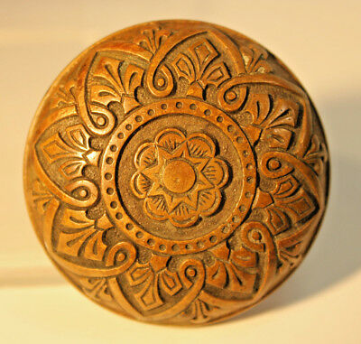 Antique Victorian R&E Solid Brass - Bronze Door Knob Old Chocolate Patina c.1875