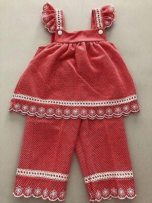 Vintage Size 18 Months Red Toddler 2 Piece Outfit By Carters