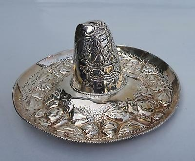 STERLING SILVER 925 SOMBRERO CHARRO w/ EAGLE SNAKE CACTUS FLOWERS MADE IN MEXICO