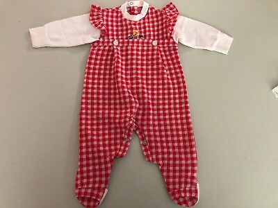 Vintage 1970's Red Plaid Infant Spring One Piece Outfit