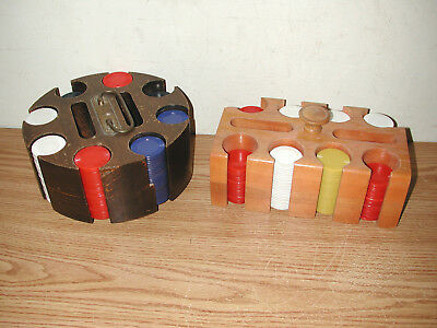 Vintage Wooden Poker Chip And Card Deck Carousel And Holder With Poker Chips
