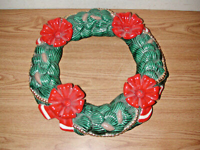 "Vintage Atlantic Mold 15"" Round Ceramic Christmas Wreath Candle Holder"