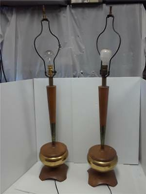 Vintage Set of Mid Century Modern Teak & Brass Table Lamps With Shades
