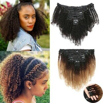 8Pcs/Set 1B/4/27# Afro Kinky Curly Clips In Hair Extension Brazilian Human Hair